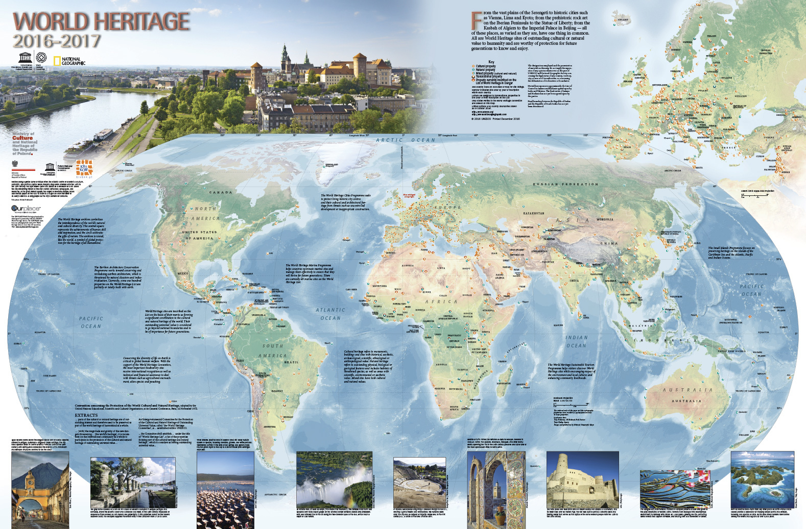 Unesco world heritage centre 2016 2017 world heritage map published the latest version of the world heritage map produced by the unesco world heritage centre and national geographic maps with the generous support of poland gumiabroncs Images