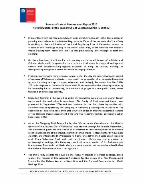 Unesco World Heritage Centre Document Summary Of The
