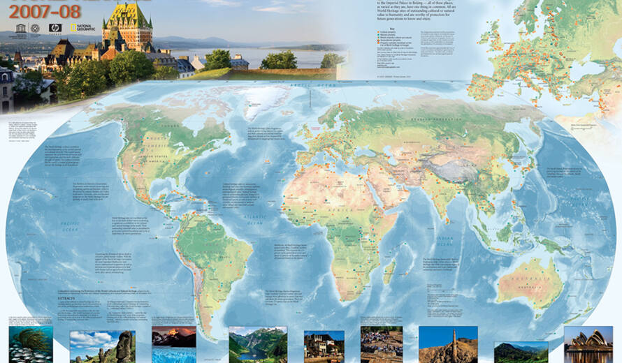 UNESCO World Heritage Centre - World Heritage Centre ends 2008 map on