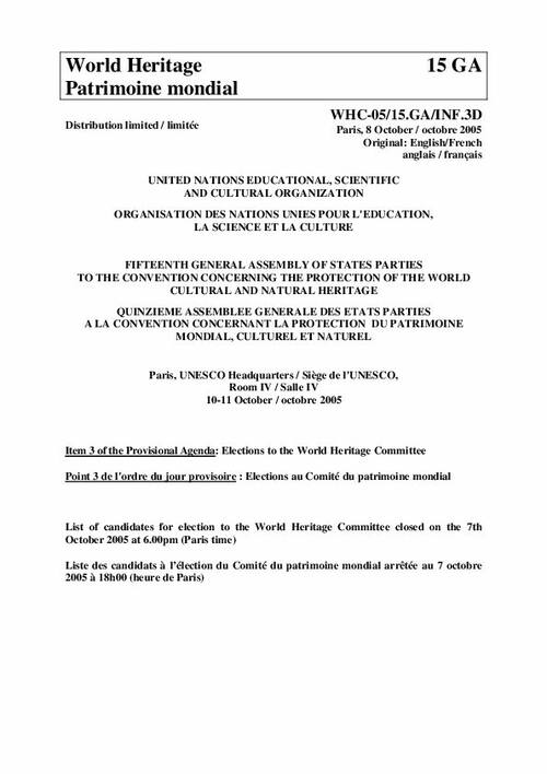 UNESCO World Heritage Centre - Document - List of candidates