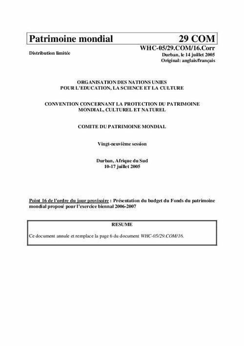 Unesco World Heritage Centre Document Présentation Du